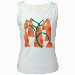 Portraits Plants Carrot Polka Dots Orange Green Women s White Tank Top by Mariart