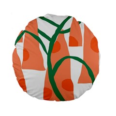 Portraits Plants Carrot Polka Dots Orange Green Standard 15  Premium Round Cushions by Mariart