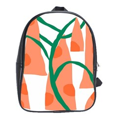 Portraits Plants Carrot Polka Dots Orange Green School Bags (xl)  by Mariart