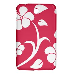 Pink Hawaiian Flower White Samsung Galaxy Tab 3 (7 ) P3200 Hardshell Case  by Mariart