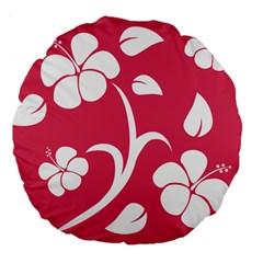 Pink Hawaiian Flower White Large 18  Premium Flano Round Cushions by Mariart