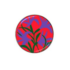 Purple Flower Red Background Hat Clip Ball Marker (10 Pack) by Mariart