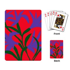Purple Flower Red Background Playing Card by Mariart