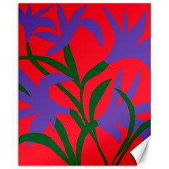 Purple Flower Red Background Canvas 11  X 14   by Mariart