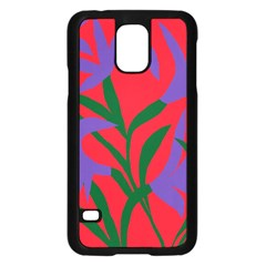 Purple Flower Red Background Samsung Galaxy S5 Case (black) by Mariart