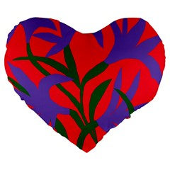Purple Flower Red Background Large 19  Premium Flano Heart Shape Cushions by Mariart