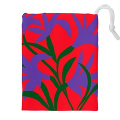 Purple Flower Red Background Drawstring Pouches (xxl) by Mariart