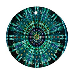 Peacock Throne Flower Green Tie Dye Kaleidoscope Opaque Color Round Ornament (two Sides) by Mariart
