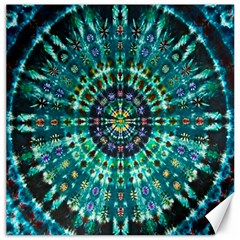 Peacock Throne Flower Green Tie Dye Kaleidoscope Opaque Color Canvas 16  X 16   by Mariart