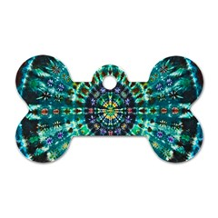 Peacock Throne Flower Green Tie Dye Kaleidoscope Opaque Color Dog Tag Bone (one Side) by Mariart