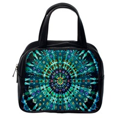 Peacock Throne Flower Green Tie Dye Kaleidoscope Opaque Color Classic Handbags (one Side) by Mariart