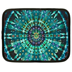 Peacock Throne Flower Green Tie Dye Kaleidoscope Opaque Color Netbook Case (xl)  by Mariart