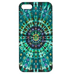 Peacock Throne Flower Green Tie Dye Kaleidoscope Opaque Color Apple Iphone 5 Hardshell Case With Stand by Mariart