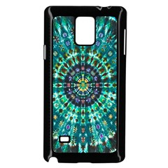 Peacock Throne Flower Green Tie Dye Kaleidoscope Opaque Color Samsung Galaxy Note 4 Case (black) by Mariart