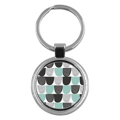 Sugar Blue Fabric Polka Dots Circle Key Chains (round)  by Mariart