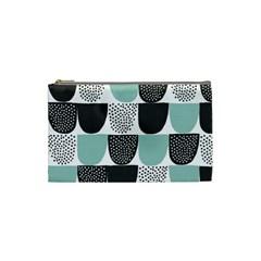 Sugar Blue Fabric Polka Dots Circle Cosmetic Bag (small)  by Mariart