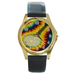 Red Blue Yellow Green Medium Rainbow Tie Dye Kaleidoscope Opaque Color Round Gold Metal Watch by Mariart