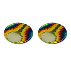 Red Blue Yellow Green Medium Rainbow Tie Dye Kaleidoscope Opaque Color Cufflinks (oval) by Mariart