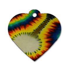 Red Blue Yellow Green Medium Rainbow Tie Dye Kaleidoscope Opaque Color Dog Tag Heart (one Side) by Mariart