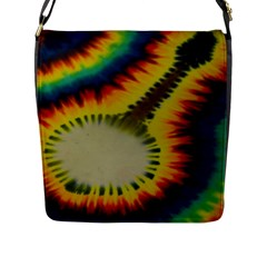 Red Blue Yellow Green Medium Rainbow Tie Dye Kaleidoscope Opaque Color Flap Messenger Bag (l)  by Mariart