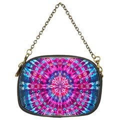 Red Blue Tie Dye Kaleidoscope Opaque Color Circle Chain Purses (two Sides)  by Mariart