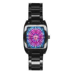 Red Blue Tie Dye Kaleidoscope Opaque Color Circle Stainless Steel Barrel Watch by Mariart