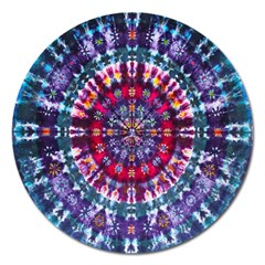 Red Purple Tie Dye Kaleidoscope Opaque Color Magnet 5  (round) by Mariart