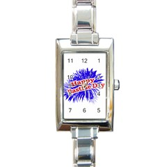 Happy Bastille Day Graphic Logo Rectangle Italian Charm Watch by dflcprints