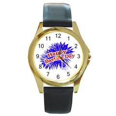 Happy Bastille Day Graphic Logo Round Gold Metal Watch by dflcprints