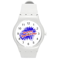 Happy Bastille Day Graphic Logo Round Plastic Sport Watch (m) by dflcprints