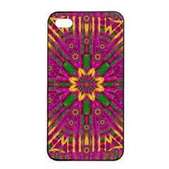 Feather Stars Mandala Pop Art Apple Iphone 4/4s Seamless Case (black) by pepitasart