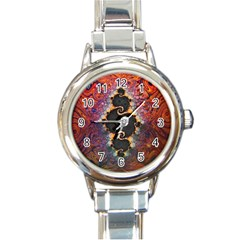 The Eye Of Julia, A Rainbow Fractal Paint Swirl Round Italian Charm Watch by beautifulfractals