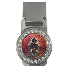 The Eye Of Julia, A Rainbow Fractal Paint Swirl Money Clips (cz)  by beautifulfractals