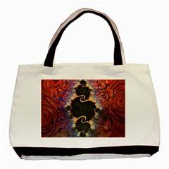 The Eye Of Julia, A Rainbow Fractal Paint Swirl Basic Tote Bag by beautifulfractals