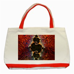 The Eye Of Julia, A Rainbow Fractal Paint Swirl Classic Tote Bag (red) by beautifulfractals