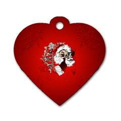 Funny Santa Claus  On Red Background Dog Tag Heart (one Side) by FantasyWorld7