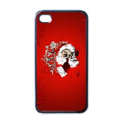 Funny Santa Claus  On Red Background Apple Iphone 4 Case (black) by FantasyWorld7