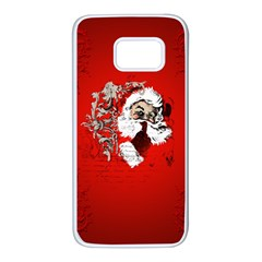 Funny Santa Claus  On Red Background Samsung Galaxy S7 White Seamless Case by FantasyWorld7