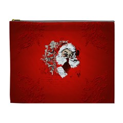 Funny Santa Claus  On Red Background Cosmetic Bag (xl) by FantasyWorld7