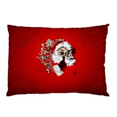 Funny Santa Claus  On Red Background Pillow Case by FantasyWorld7