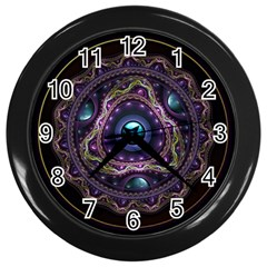 Beautiful Turquoise And Amethyst Fractal Jewelry Wall Clocks (black) by beautifulfractals
