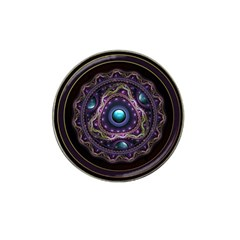 Beautiful Turquoise And Amethyst Fractal Jewelry Hat Clip Ball Marker by jayaprime
