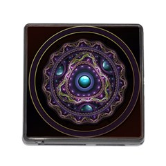 Beautiful Turquoise And Amethyst Fractal Jewelry Memory Card Reader (square) by beautifulfractals