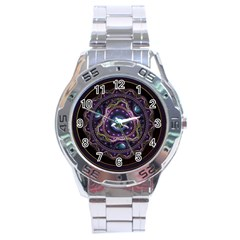 Beautiful Turquoise And Amethyst Fractal Jewelry Stainless Steel Analogue Watch by beautifulfractals