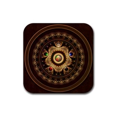 Gathering The Five Fractal Colors Of Magic Rubber Coaster (square)  by jayaprime