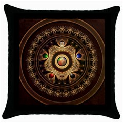 Gathering The Five Fractal Colors Of Magic Throw Pillow Case (black) by jayaprime