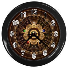Gathering The Five Fractal Colors Of Magic Wall Clocks (black) by beautifulfractals