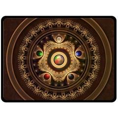 Gathering The Five Fractal Colors Of Magic Fleece Blanket (large)  by jayaprime