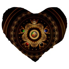 Gathering The Five Fractal Colors Of Magic Large 19  Premium Flano Heart Shape Cushions by jayaprime