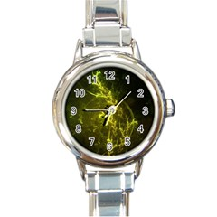 Beautiful Emerald Fairy Ferns In A Fractal Forest Round Italian Charm Watch by beautifulfractals
